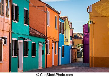 Colorful houses of Burano on a sunny day in winter