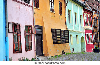 Colorful houses of Sighisoara old town
