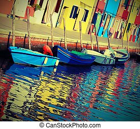 colorful houses of the island of Burano near Venice in Italy wit