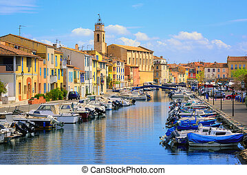Colorful houses on canal of the old town of Martigues, France