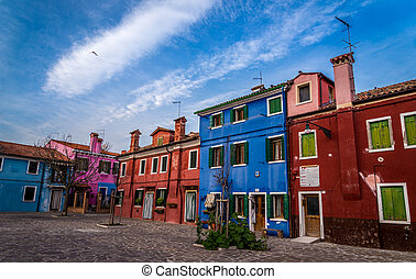 Colorful houses on the island of Murano, Venice, Italy