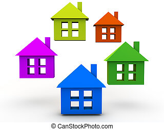 Colorful Houses over white Background