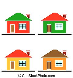colorful houses vector set on white background