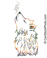 Colorful Howling Wolf - Abstract colorful wolf howling,...