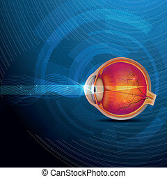 Colorful human eye, normal sight abstract design