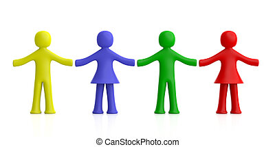 Colorful human figures holding hands isolated on white background. 3d illustration