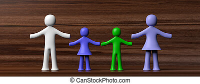 Colorful human figures holding hands isolated on wooden background. 3d illustration