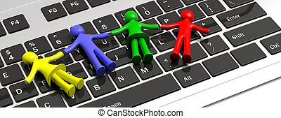 Colorful human figures holding hands laying on a computer keyboard. 3d illustration