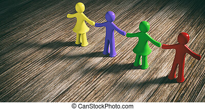 Colorful human figures holding hands on wooden background, copy space. 3d illustration