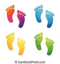 colorful human footprints