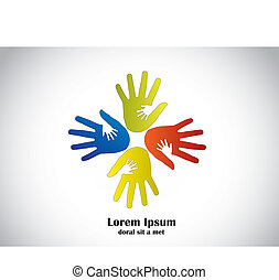 colorful human hands vector art