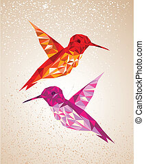 Trendy colorful abstract humming birds triangles shapes over grunge background. Vector file layered for easy editing.