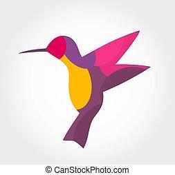 Colorful hummingbird abstract symbol.