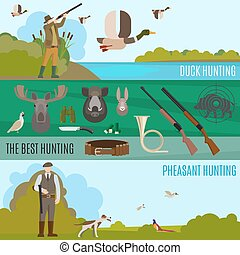 Colorful hunting banners