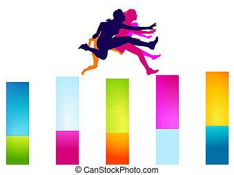 colorful hurdles women