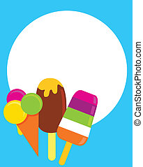 colorful ice-creams, vector illustration