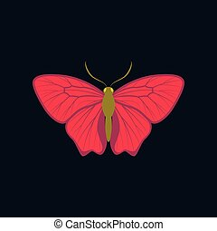 Colorful icon of butterfly isolated on dark blue