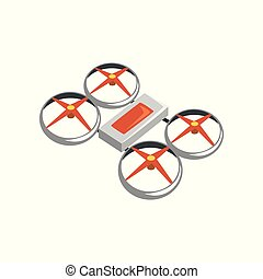 Colorful icon of flying quadrocopter. Unmanned aerial...