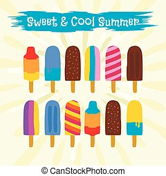 Colorful icon popsicle ice cream