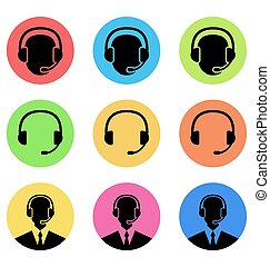 Colorful icons of call center and operator in headset, headset