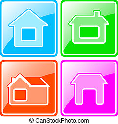 colorful icons with cottage
