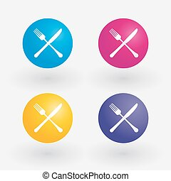 Colorful icons with cutlery
