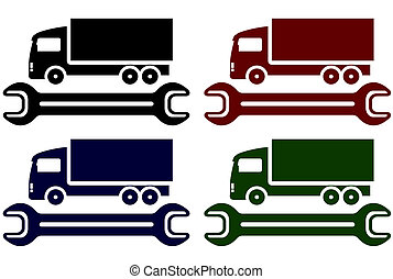 colorful icons with truck