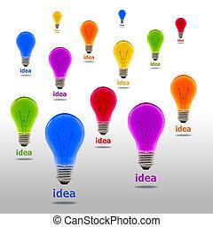 colorful idea light bulb