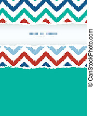 Colorful ikat chevron frame vertical torn seamless pattern background