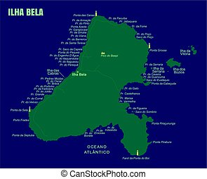 Colorful Ilha Bela Island Map, Brazil.