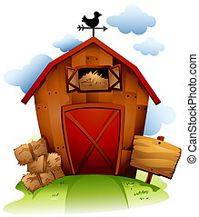 Barn - Colorful Illustration Featuring a Barn with Haystack
