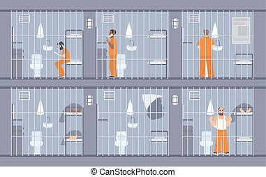 Colorful illustration featuring prisoners behind the bars....
