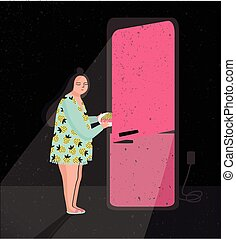 Colorful illustration featuring late night fridge raid. Sleepy woman is taking out pie from refrigerator. Eating at night. Cartoon vector illustration.