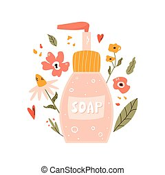 Colorful illustration of a bottle with liquid soap