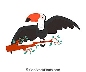 colorful illustration of a cute toucan sitting on branch with leaves