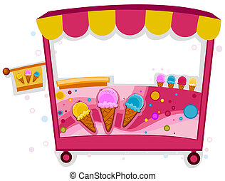 Ice Cream Stall - Colorful Illustration of an Ice Cream...