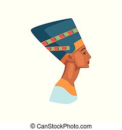 Colorful illustration of Egyptian queen. Statue of...