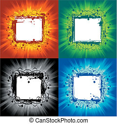 grunge frames - colorful illustration of grunge frames on...