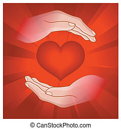 heart in human hand - colorful illustration of heart in...