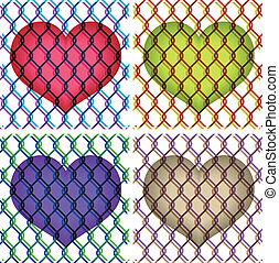 colorful illustration of hearts under chain link fence