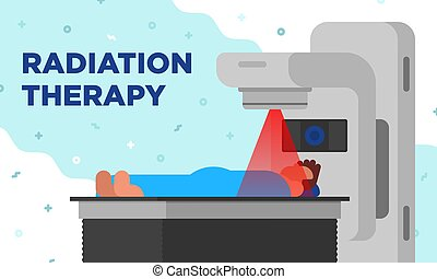 This color illustration depicts the process of treating cancer through radiation therapy in a modern clinic using advanced medical equipment