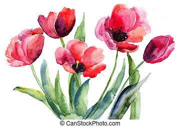 Colorful illustration of red tulips flowers