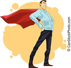 Colorful illustration of successful heroic businessman with red cloak standing in heroic pose