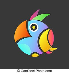 colorful illustration of the parrot with background, a small logo of an exotic bird