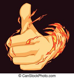 Colorful illustration of thumbs up symbol with burning fist