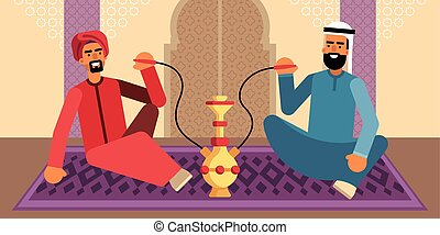Colorful illustration of two men who smoke hookah