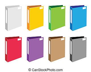Colorful Illustration Set of Office Folder Icons