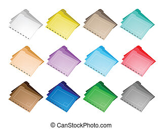 Illustration Collection of Colorsful File Folder Icons for Backups and Storing of Data