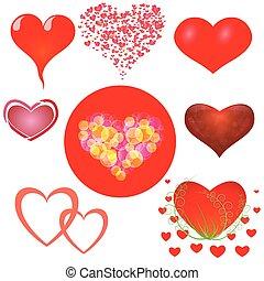 abstract hearts set