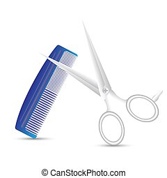 barber scissors and comb - colorful illustration with barber...